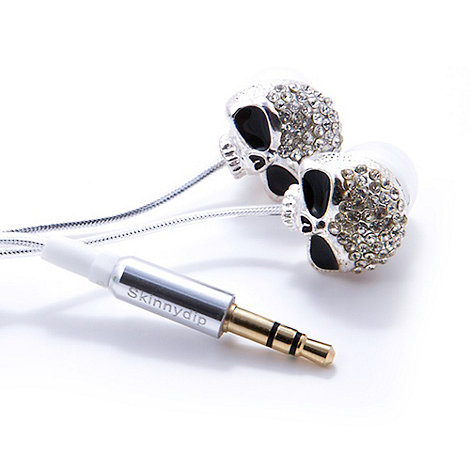 Skinnydip - Silver skull headphones