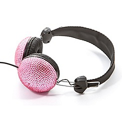 Skinnydip - Pink stone encrusted base headphones