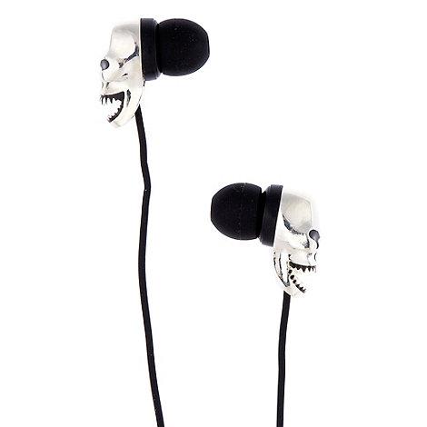 Skinnydip - Silver skull bud headphones
