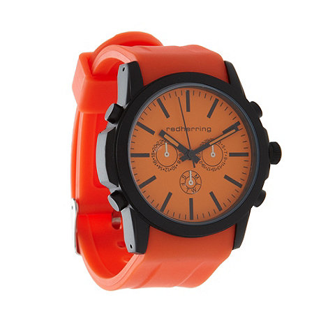 Red Herring - Men+s orange silicone strap mock-chronograph dial watch