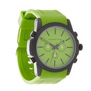 Men's green silicone strap mock-chronograph dial watch