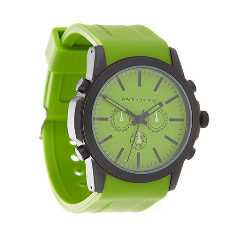 Red Herring - Men+s green silicone strap mock-chronograph dial watch