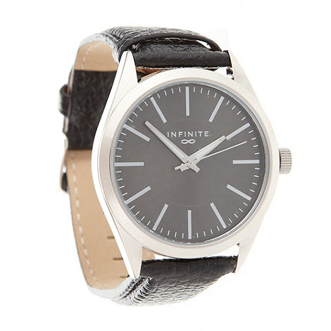 Infinite - Men+s black leather-look strap analogue dial watch
