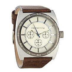 Red Herring - Men's brown chunky dial faux leather strap watch