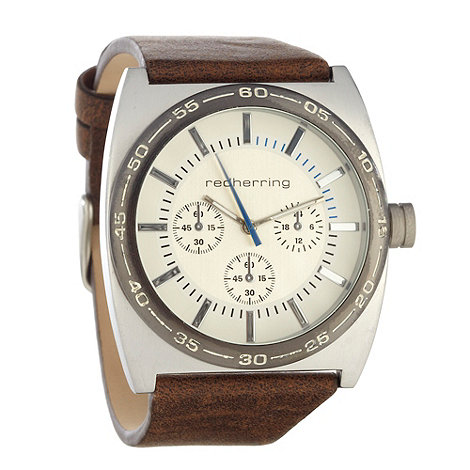Red Herring - Men+s brown chunky dial faux leather strap watch
