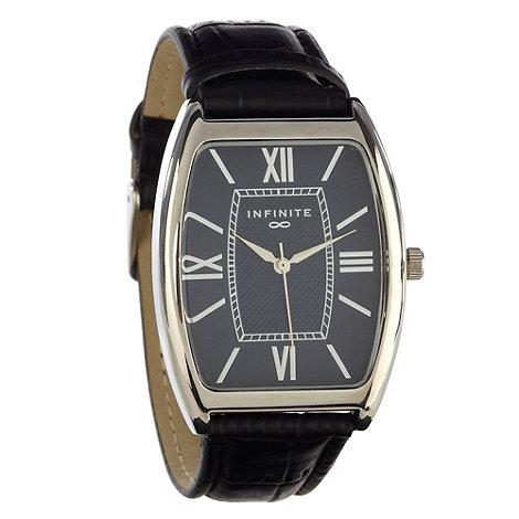 Infinite - Men+s black curved dial mock-crocodile strap watch