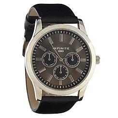 Infinite - Men's black mock-multi dial faux leather strap watch