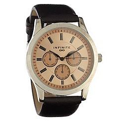 Infinite - Men's tan mock-multi dial faux leather strap watch
