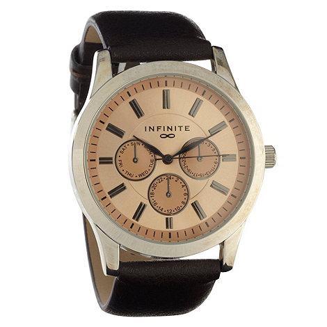 Infinite - Men+s tan mock-multi dial faux leather strap watch
