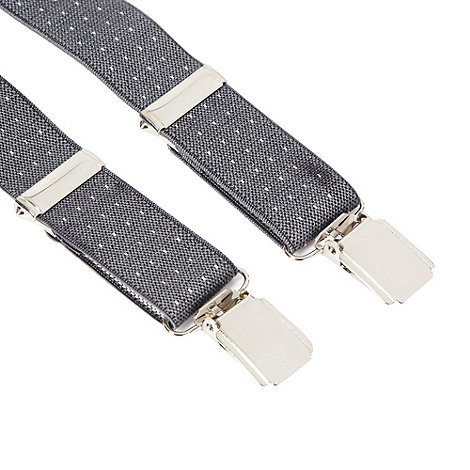 Red Herring - Grey slim pindot braces