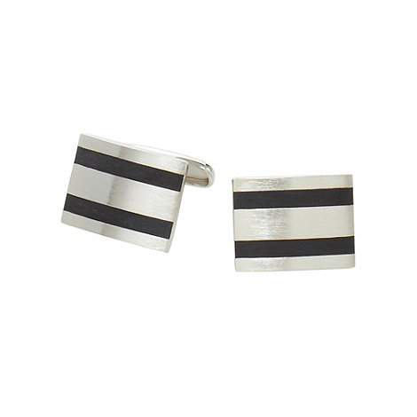 Jeff Banks - Designer silver brushed striped cufflinks