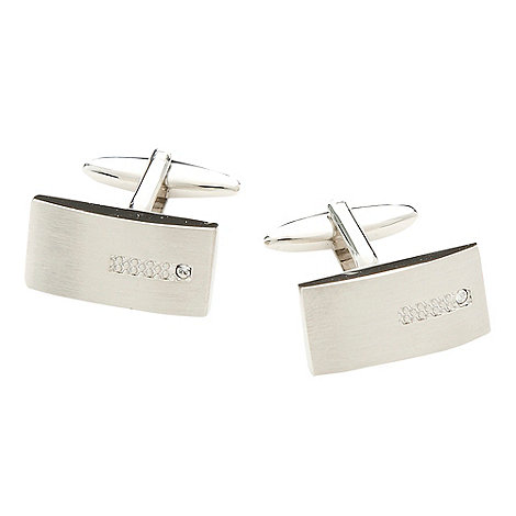 Thomas Nash - Silver brushed stone cufflinks