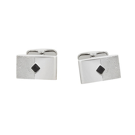 Jeff Banks - Designer silver diamond stone cufflinks