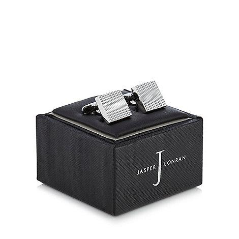 J by Jasper Conran - Silver square textured cufflinks in a gift box