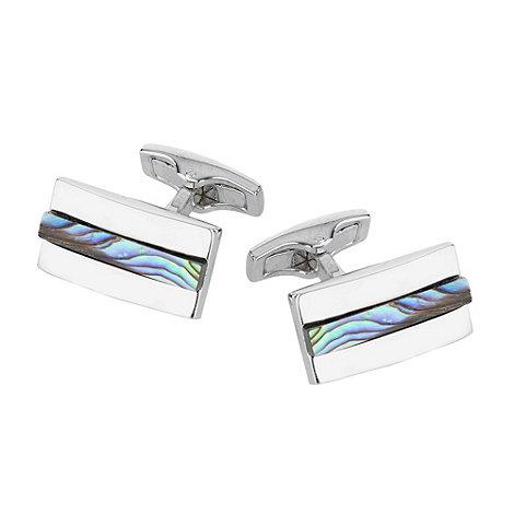 J by Jasper Conran - Designer silver abalone centre stone cufflinks