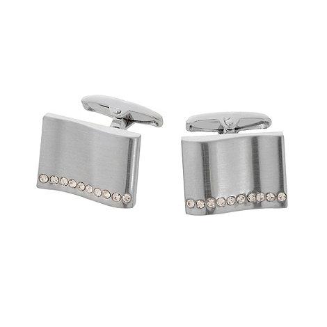 J by Jasper Conran - Designer silver stone detail wave cufflinks