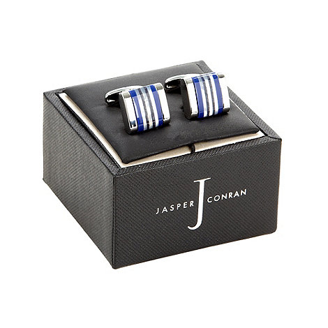 J by Jasper Conran - Silver and blue striped cufflinks in a gift box
