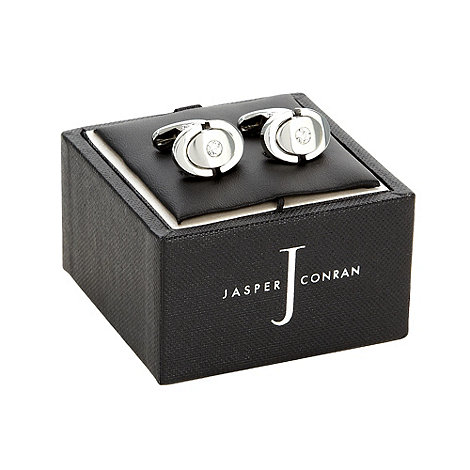 J by Jasper Conran - Silver oval crystal cufflinks in a gift box