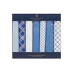 Osborne - Pack of six blue and white patterned handkerchiefs