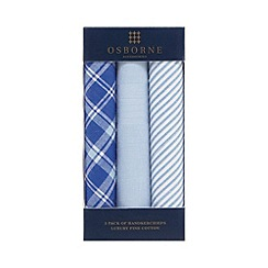 Osborne - Pack of three blue checked striped and plain handkerchiefs