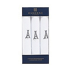 Osborne - Pack of three white initial embroidered handkerchiefs
