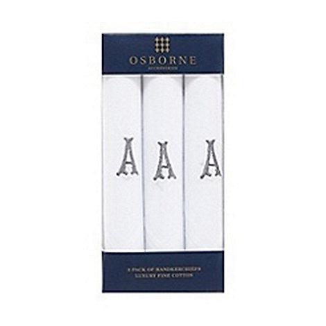 Osborne - Pack of three white initial embroidered handkerchiefs