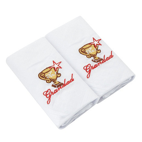 Osborne - Pack of two white +No.1 Grandad+ embroidered handkerchiefs