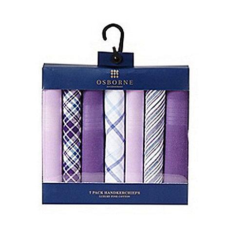 Osborne - Pack of seven purple patterned handkerchiefs