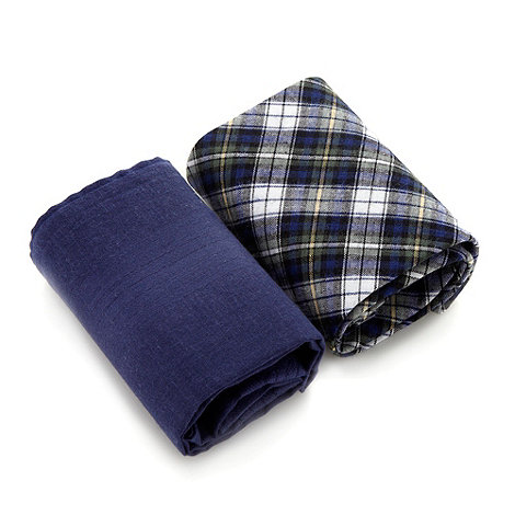 Osborne - Pack of two dark blue plain and tartan handkerchiefs