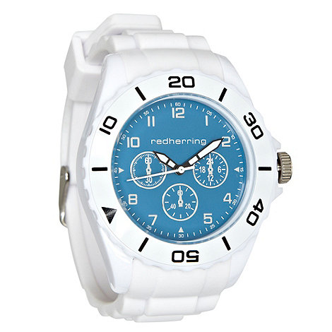 Red Herring - Men+s white silicone strap contrast dial watch