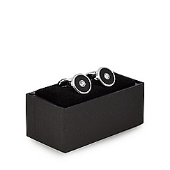 The Collection - Black diamante embellished circle cufflinks in a gift box