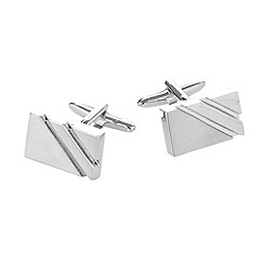 Thomas Nash - Silver rectangular cutout cufflinks