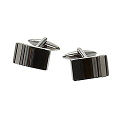 Thomas Nash - Gunmetal rectangular double striped cufflinks