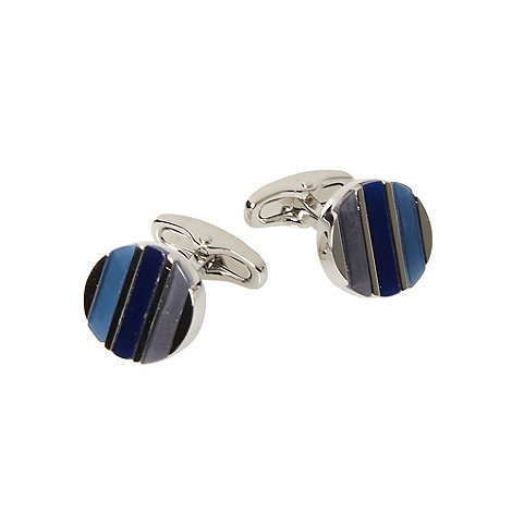 Jeff Banks - Blue round tonal striped cufflink