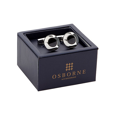 Osborne - Black enamel circle cufflinks