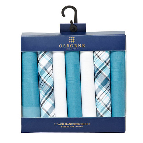 Osborne - Set of seven turquoise and white handkerchiefs