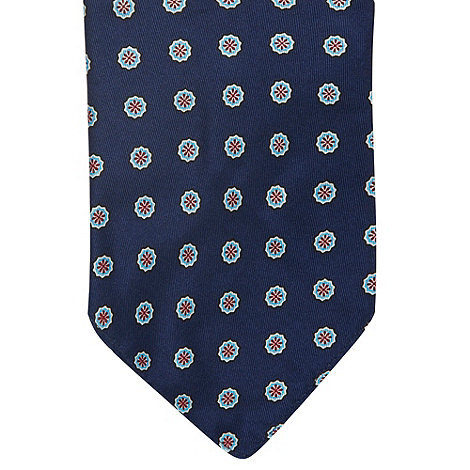 Osborne - Navy printed silk pocket handkerchief