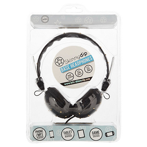 Skinnydip - Black quilted studded headphones