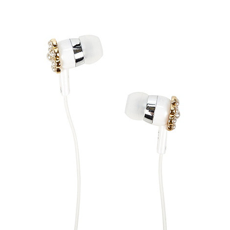 Skinnydip - White flower bead headphones