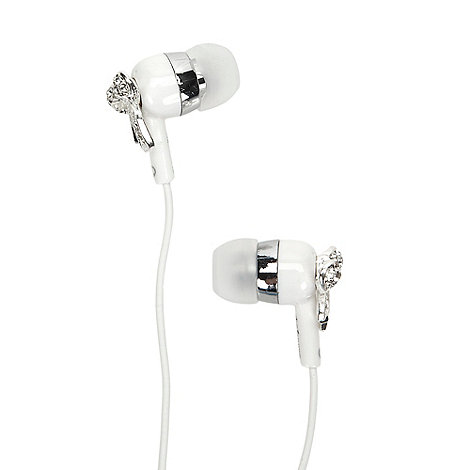 Skinnydip - White diamante bow in ear headphones