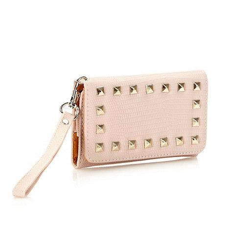Skinnydip - Pink studded mock croc wallet case
