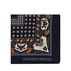 Hammond & Co. by Patrick Grant - Navy printed silk pocket square
