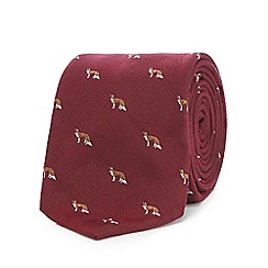 Hammond & Co. by Patrick Grant - Wine red fox print tie