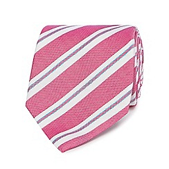 Jeff Banks - Pink oxford stripe silk tie