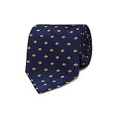 Osborne - Navy silk embroidered regular tie