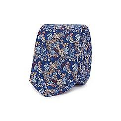 Red Herring - Blue floral print skinny tie