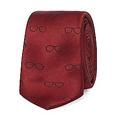 Red Herring - Red sunglasses print skinny tie