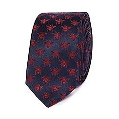 Red Herring - Navy bee patterned skinny tie