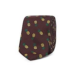 Red Herring - Dark red pineapple embroidered skinny tie