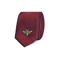 Red Herring - Red textured skinny tie with a bee pin